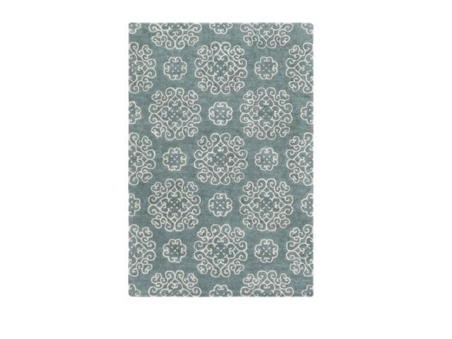 2' x 3' Swirling Elegance Teal and Owl Gray Hand Tufted Area Throw Rug