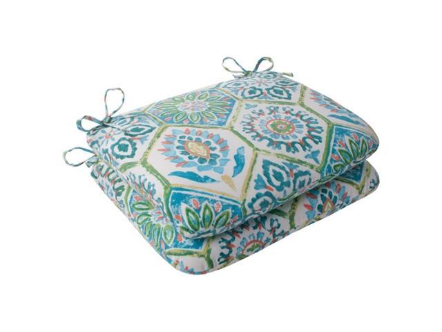 Set of 2 Psychedelic Blue Outdoor Patio Rounded Seat Cushions 18.5