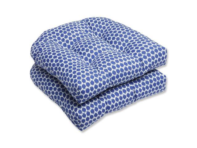 Set of 2 Ruche D'abeille Royal Blue and White Outdoor Patio Wicker Chair Cushions 19