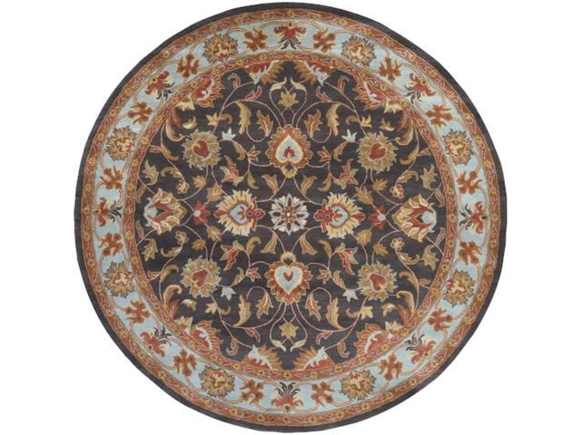 8' Claudius Slate Blue and Desert Sand Wool Round Area Throw Rug