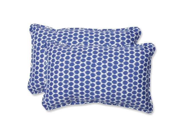 Set of 2 Ruche D'abeille Royal Blue and White Outdoor Corded Throw Pillows 18.5