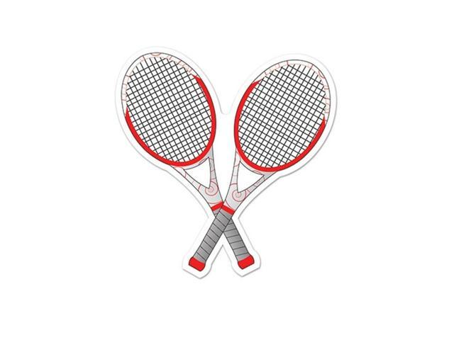 Pack of 12 Red and White Tennis Racquet Cutout Party Decorations 10