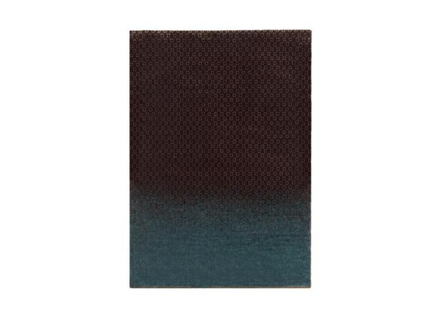 2' x 3' Ocean Dipped Earth Brown and Surf Blue Tencel and New Zealand Wool Area Throw Rug