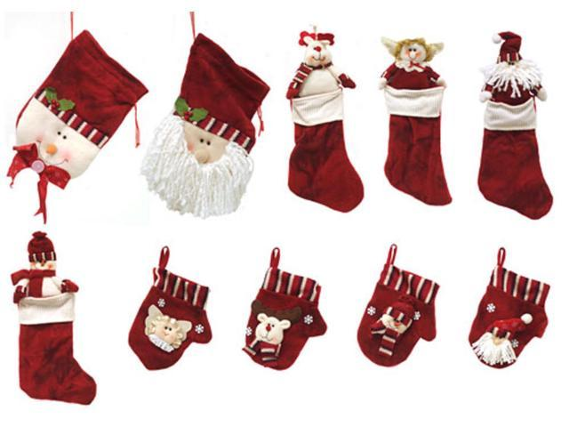 10-Piece Red Classics Christmas Stocking and Novelty Gift Bag Set