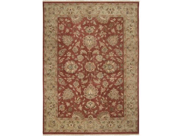 8' x 11' Phul Echo Red Clay, Stone and Tan Rectangular Wool Area Throw Rug