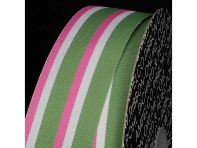 Pink, White and Green Striped Woven Grosgrain Craft Ribbon 1.5