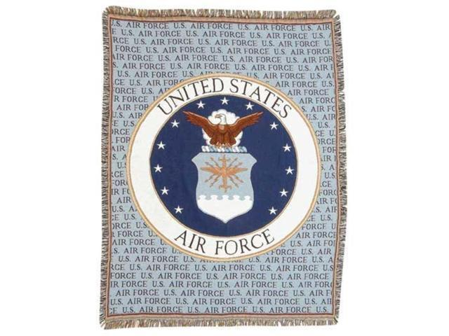 United States Air Force Crest Afghan Throw Tapestry - 50