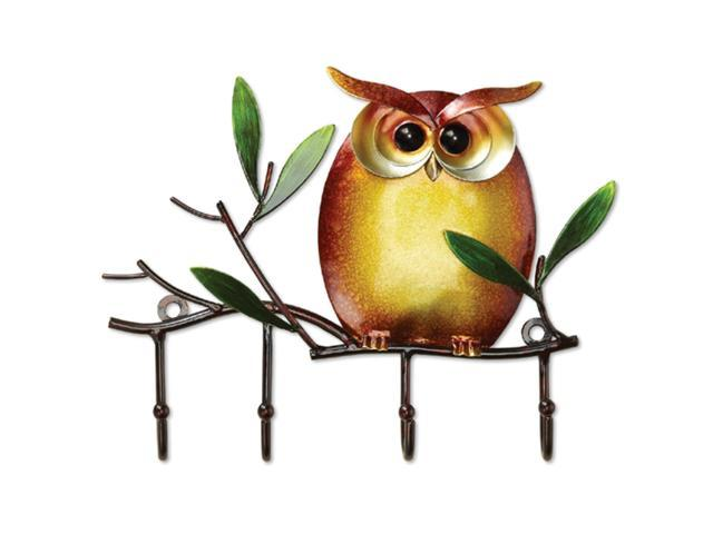Pack of 4 Hand Sculpted Metal Owl Wall Mounted Keyring Holders 7.75