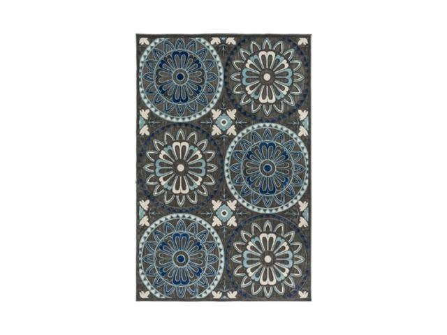 4.6' x 6.6' Pictoric Pinwheel Gunmetal Gray and Midnight Blue Area Throw Rug