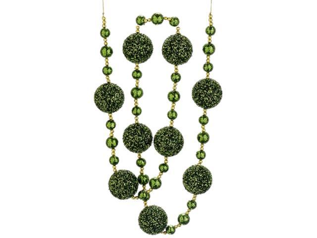 Christmas Brites Elf Suit Green and Gold Glittered Holiday Ball Garland 6'