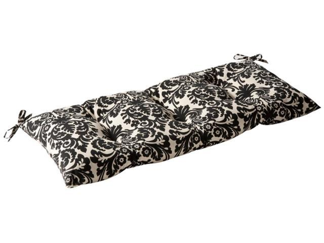 Outdoor Patio Tufted Bench Loveseat Cushion - Dramatic Black & Cream Damask