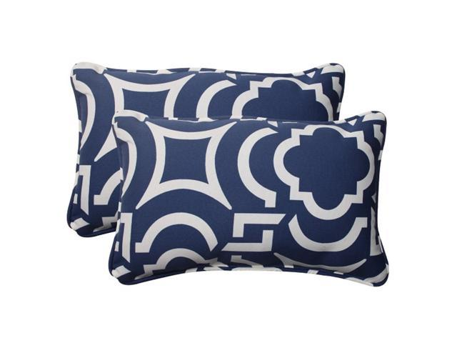 Set of 2 Geometric Navy Blue Sky Outdoor Corded Rectangular Throw Pillows 18.5