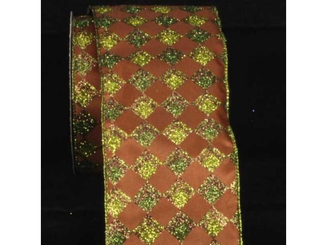 Brown with Green Glitter Harlequin Wired Craft Ribbon 4