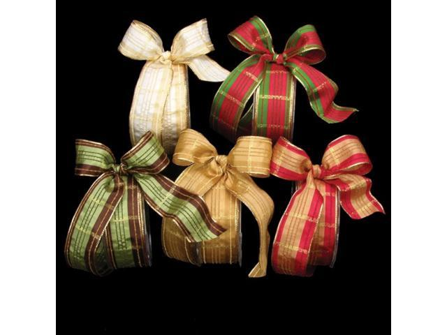 Gold Festive Plaid French Wired Craft Ribbon 1.5