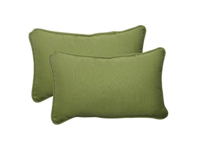 Set of 2 Solid Olive Green Outdoor Patio Corded Rectangular Throw Pillows 18.5