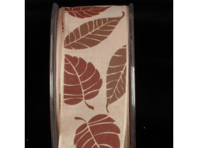 Terrific Tan Forest Leaves Wired Craft Ribbon 1.5