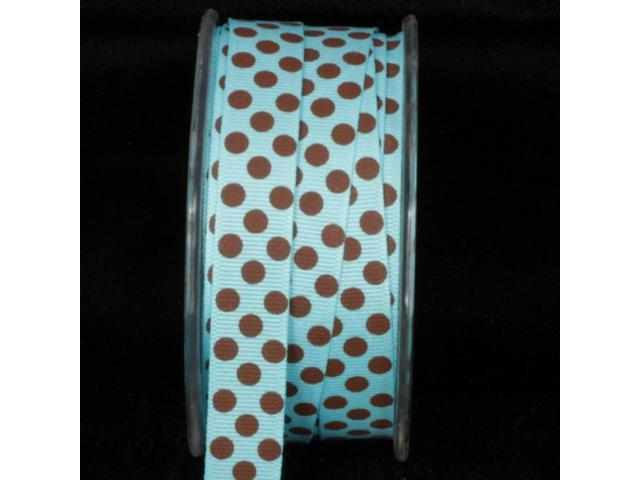 Baby Blue and Brown Polka Dot Pattern Grosgrain Craft Ribbon 5/8
