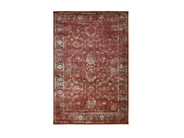 7.85' x 10.5'  Primitive Contempo Bordeaux red and Kettle Black Area Throw Rug