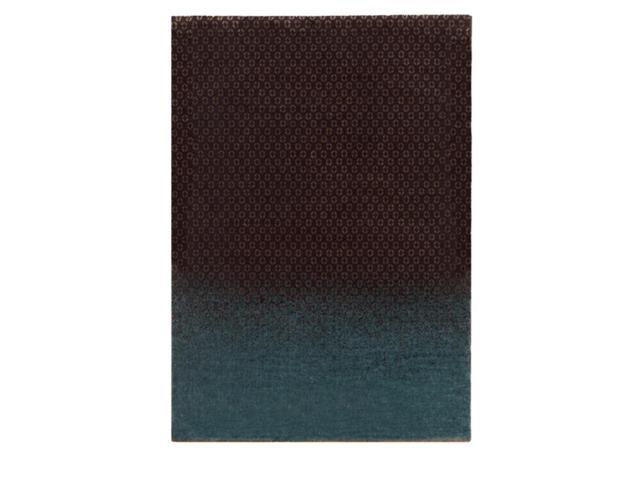 5.5' x 7.75' Ocean Dipped Earth Brown and Surf Blue Tencel and New Zealand Wool Area Throw Rug
