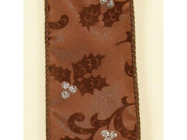 Metallic Brown Holiday Swirling Leaves Wired Craft Ribbon 2