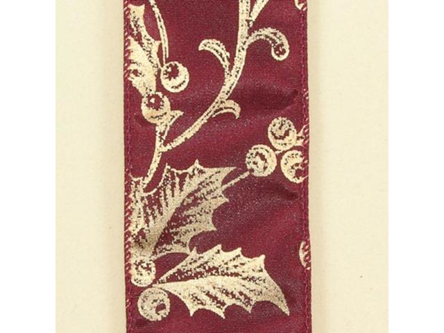 Burgundy with Gold Poinsettia and Berry Print Wired Craft Ribbon 2