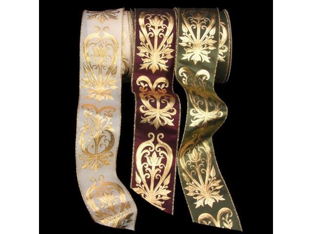 Sophisticated Hunter Green and Gold Floral Scrollwork Pattern Wired Craft Ribbon 2.5