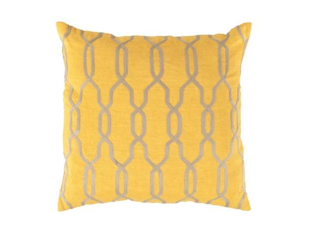 "22"" Sunflower Yellow and Beige Woven Trellis Patterned Decorative Throw Pillow"