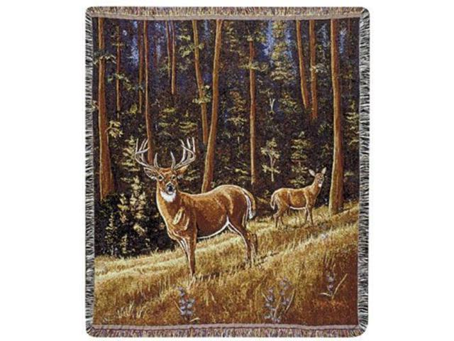Whitetail Morning Deer Pictorial Scene Tapestry Throw 50