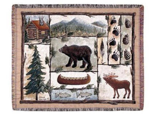 Cabin Fever Moose Bear Lodge Tapestry Throw 50