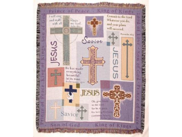 Global Crosses Religious Jesus Tapestry Throw Blanket 50