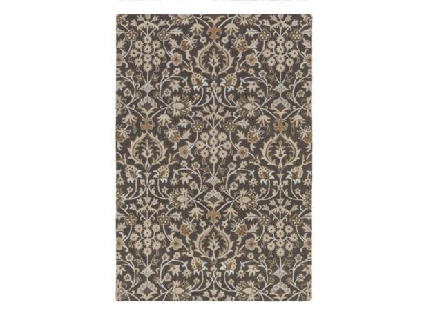 9' x 13' Fresh Blooms Chocolate Brown and Biscuit Brown Hand Tufted Wool Area Throw Rug