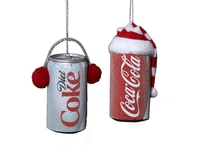 Pack of 24 Frosted Coca-Cola & Diet Coke Can Christmas Ornaments 3.5