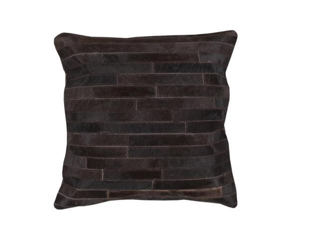 "18"" Black Pearl and Coffee Bean Rustic Tile Patterned Decorative Throw Pillow"