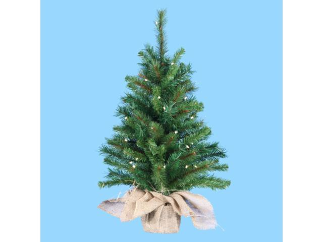 2.5' Pre-Lit Artificial Pine Christmas Tree in Burlap Bag - Clear Lights