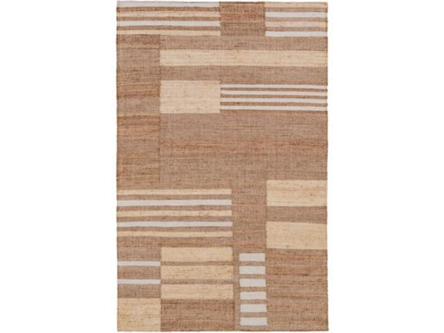 8' x 10' Mystic Woodlands Ecru White and Nougat Brown Hand Woven Area Throw Rug