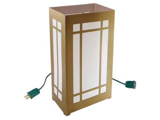 Set of 10 Lighted Golden Lantern Luminaria Pathway Markers - Green Wire