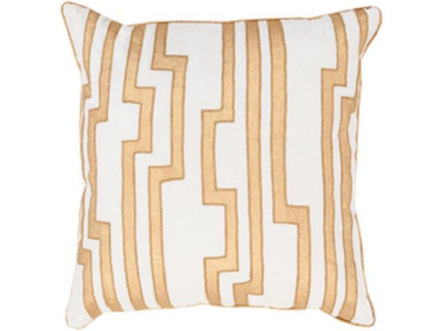 "22"" White and Golden Yellow Charming Key Patterned Decorative Throw Pillow"