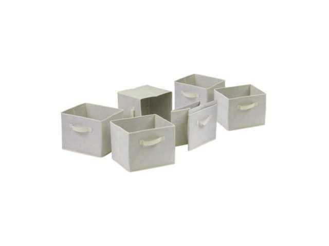 Winsome Capri Set of 6 Foldable Beige Fabric Baskets in Beige - 82611