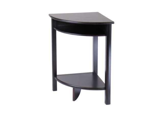 Dark Espresso Liso Corner Table Cube Storage And Shelf