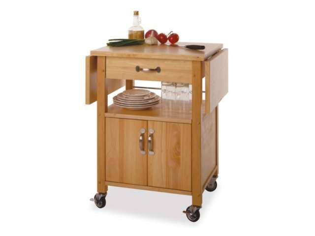 Kitchen Cart Double Drop Leaf Cabinet with Shelf