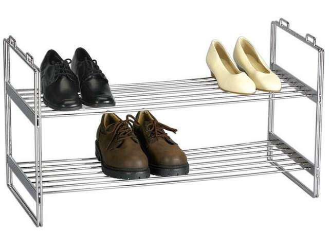 Household Essentials 2-Tier Shoe Rack Stacks With 2104 Chrome Finish - 2103