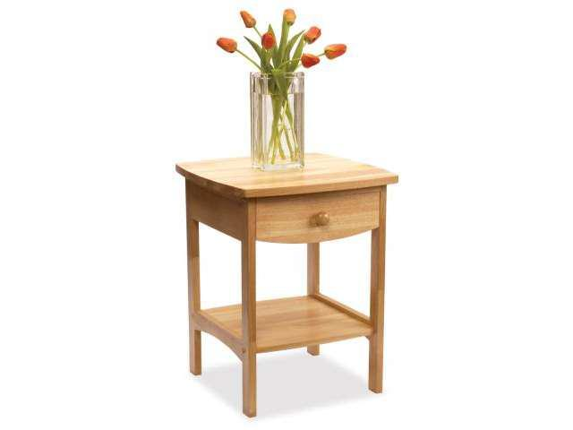 Beech Curved End table Night Stand with One Drawer