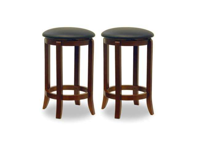 Walnut Set of 2 Faux Leather Swivel 24 Stool Assembled