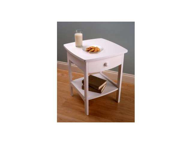 White Curved End table Night Stand with One Drawer