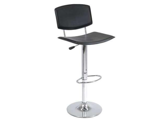 Black Metal Single Air Lift Stool Black Curved Seat Faux Leather