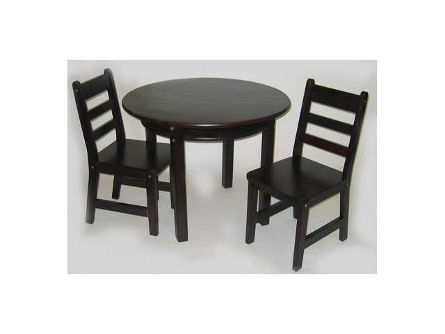 Espresso Child's Round Table with Shelf and 2 Chairs