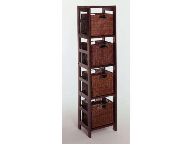 Winsome Leo 5pc Dark Espresso Storage Shelf w/ 4 Small Baskets - 92814