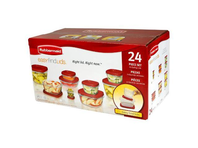 Clear-Red Rubbermaid Easy Find Lid 24-Piece Food Storage Container Set