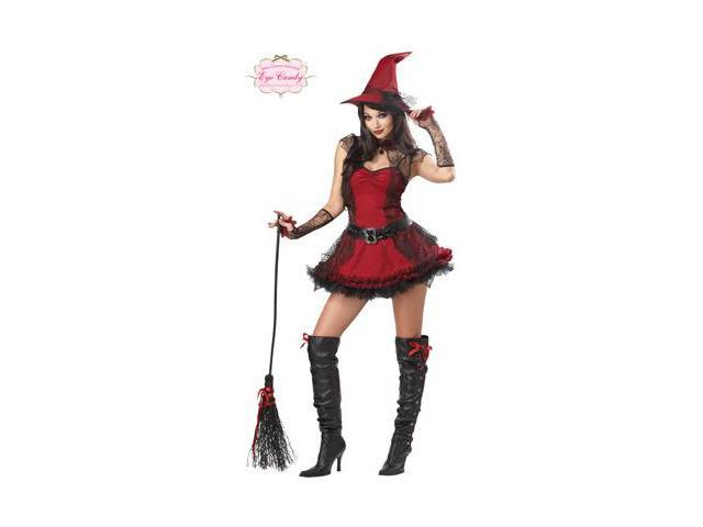 Womens Red Mischievous Witch Plus Size Halloween Costume