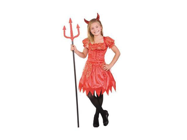 Glitter Devil Laced Up Dress With Tulle Skirt, Sequin Horns, Necklace